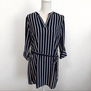 NWOT Belted stripe shirt dress